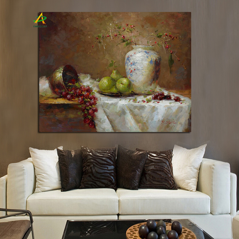 Grape pear and flowers oil painting wholesale digital canvas painting for home decoration
