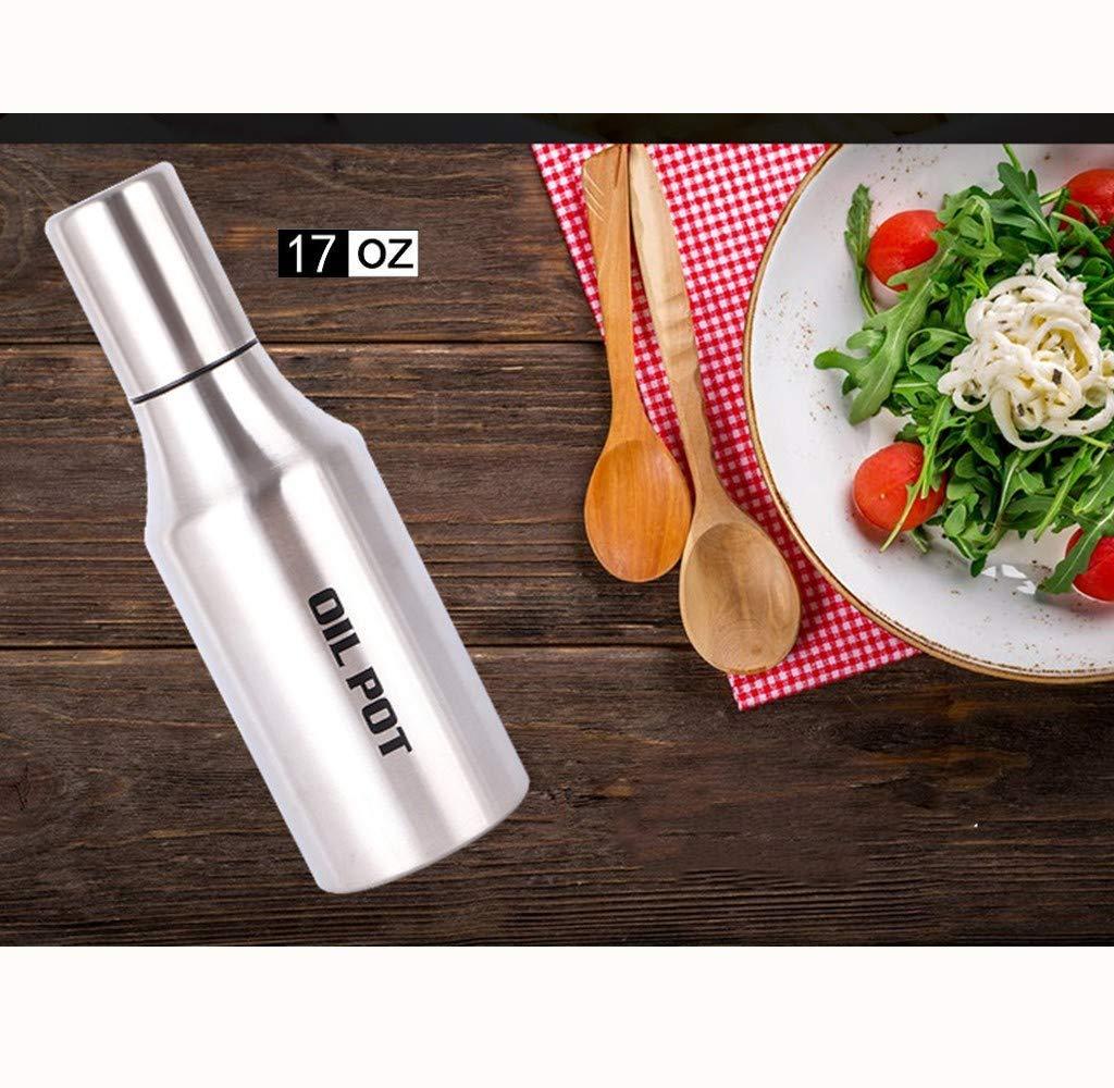 34oz(1000ml)/17oz(500ml) Stainless Steel Olive Oil Dispenser Oil Pot, Dust-proof Leak-proof Oil Bottle, 304 Stainless Steel Olive Oil Vinegar Dispenser Cruet (17OZ)