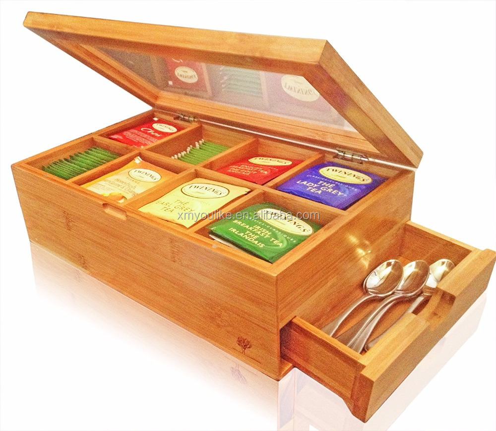 Best Natural 8 Storage Bamboo Tea Box with Expandable Drawer