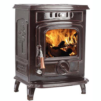 Small Cast Iron Room Wood Fireplace Brown Red Enamel Burning Stoves For