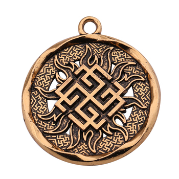Wiccan Round Antique Charm Kolovrat Symbol Pagan Talisman Sun Badge Amulet Jewelry Pendant For Necklace Viking