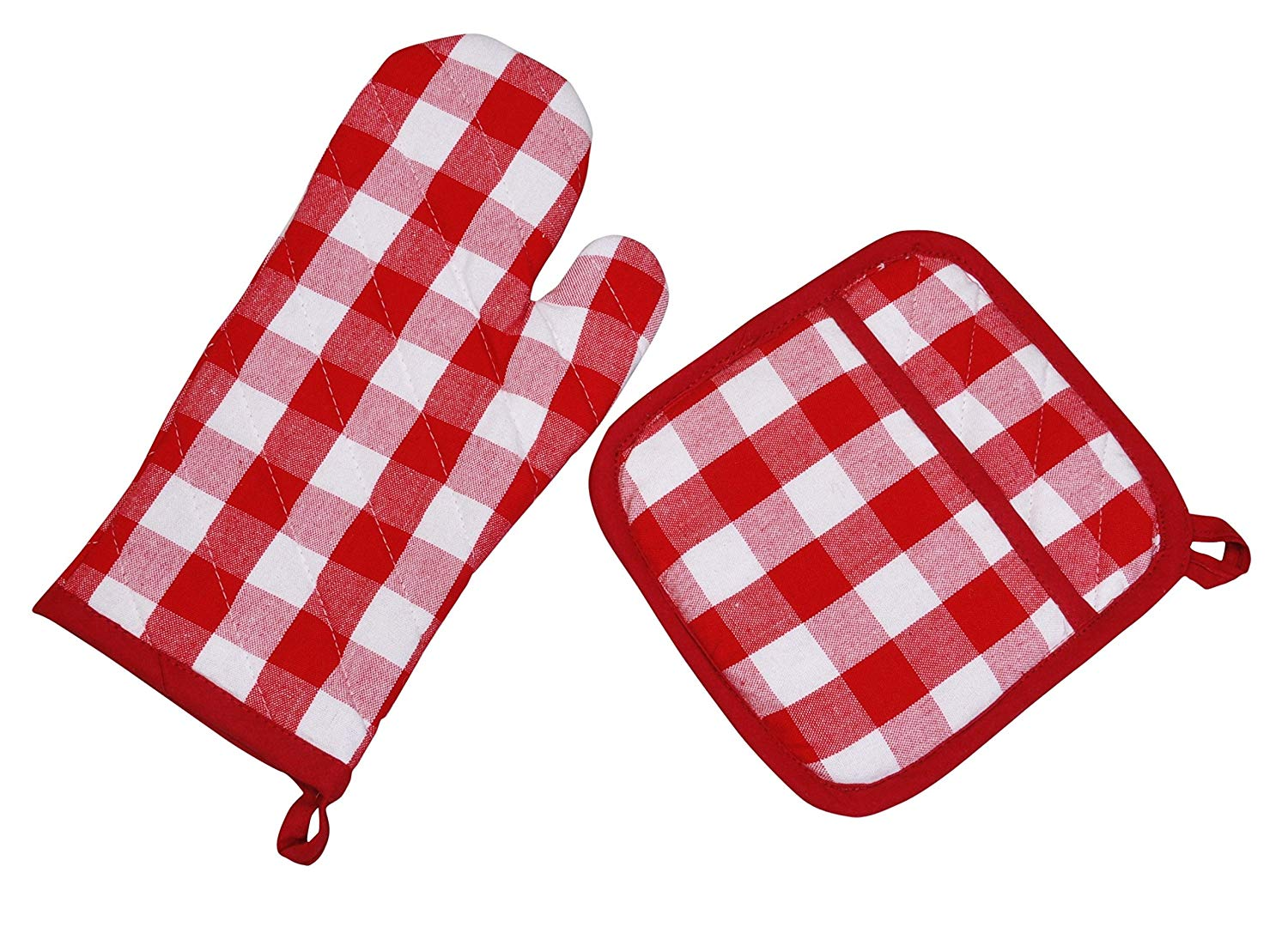 Yourtablecloth Set of Checkered Oven Mitt and Pot Holder or Oven Gloves-100% Cotton, Heat Resistance, Superior Protection & Comfort–Gingham design-Machine Washable Red and White