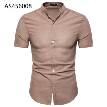 Casual Brown Shirts Men 100% Pure Linen 2019 Summer Short Sleeve Male Slim Fit Plus Size High Quality AS456008