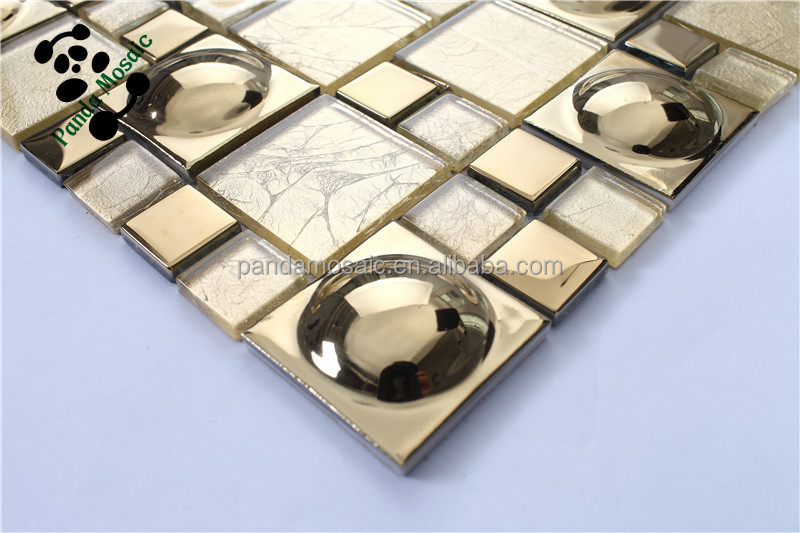 SMG03 Lowes mirror tiles Self adhesive wall tiles Gold color glass mosaic  tile