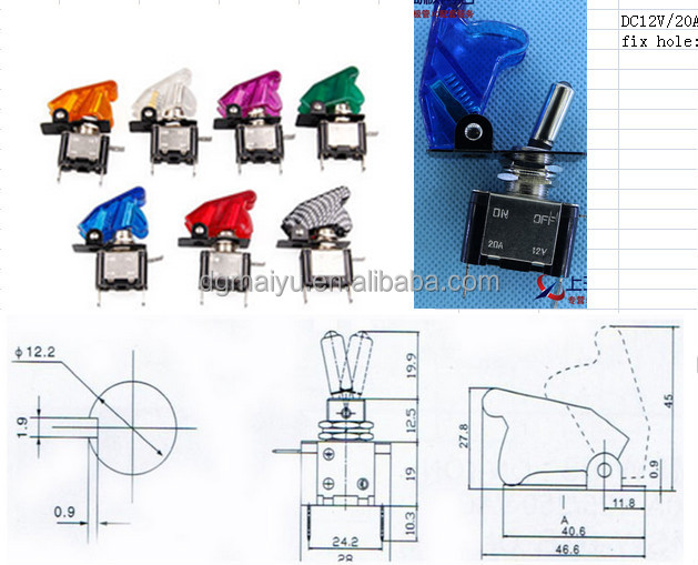 12V 20A Green LED Light OFF//ON SPST Toggle Rocker Switch For Car Sales
