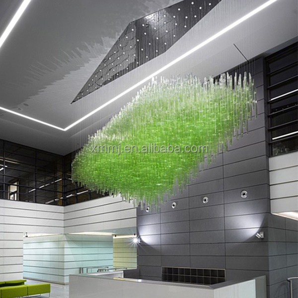 Newly fashional art decor blown green glass tubes hanging hotel lobby ceiling lights