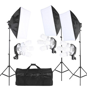 Photography Studio Lighting Tent Kit with 45W Bulb 4in1 Bulb Socket Softbox Light Stand Carrying Bag
