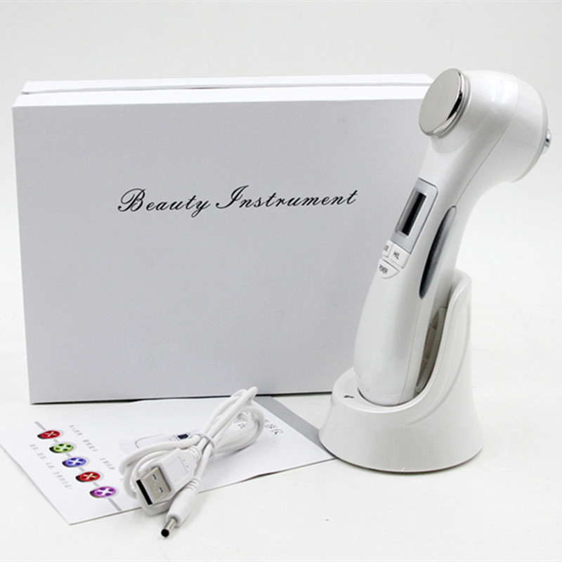 Face Skin Care Tools Useful 5 In 1 Face Photon Rf Radio Frequency Ems Mesotherapy Led Light Therapy Microcurrent Ultrasonic Vibration Face Lifting Massager Skin Care