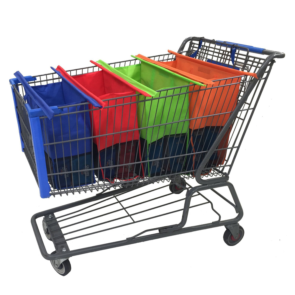 Set 4 Grocery Shopping Warenkorb Non Woven Faltbare Reusable Shopping Markt Trolley