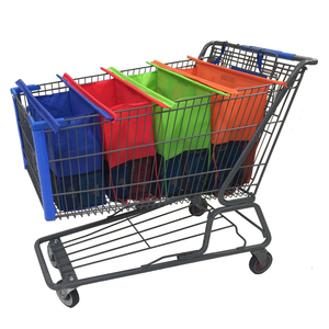 Set 4 Grocery Shopping Cart Non Woven Foldable Reusable Shopping Market Trolley Bag