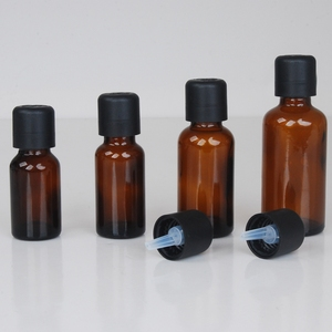 Amber glass round bottle with short dropper pilfer proof cap for essential oil CBD