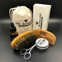 2017 Amazon Hot Selling Beard Grooming Set For Men's Gift Beard Brush and Comb with Beard Oil and Balm