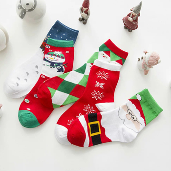 women cartoon santa deer snow funny christmas socks - Funny Christmas Socks