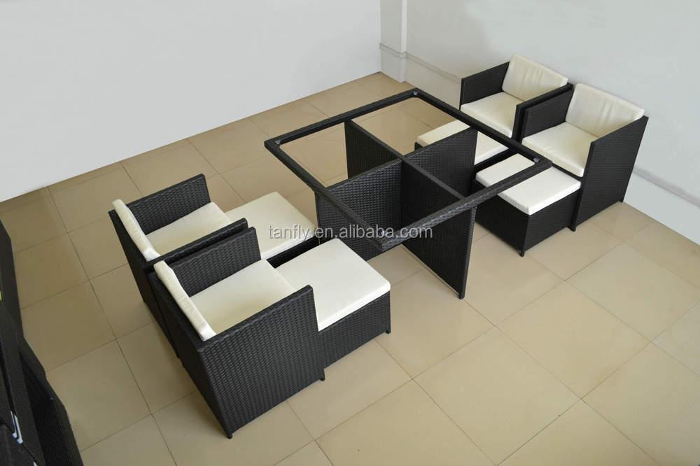 New Design space-saving Modular garden rattan dining set