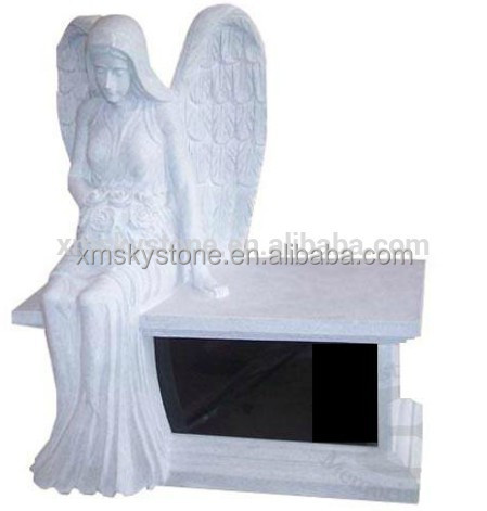 American Style Cheap Sesame White Granite Angel Statue Bench Headstone