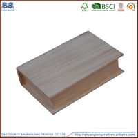Natural unfinished wood craft box , book shaped wooden box bed design
