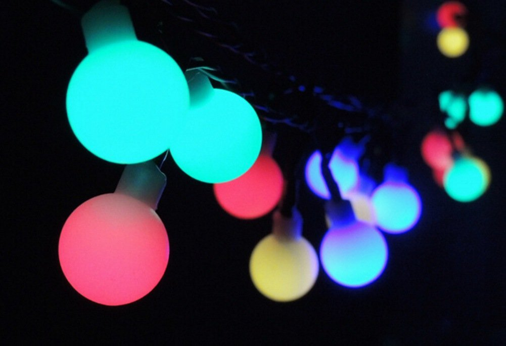 aiigou solar string lights 50 led christmas lights ball string lights flashing garden christmas lights ariety