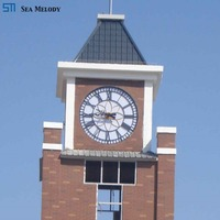 Large metal led decorative wall tower clock movement