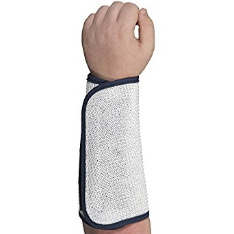 """Southern Gloves SWCM7001L Cane Mesh Sleeve, 100% Nylon, 7"""" Forearm, 3/8"""" Blue Binding, Velcro Hook and Loop Fastener, Size Large, White"""