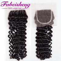 Wholesale natural color #1 deep wave Peruvian remy hair lace closure with factory price 4x4 in stock