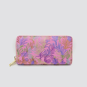 fashion lady travel wallet pink plant printed young girl wallet
