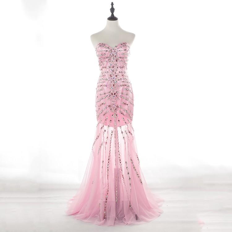 Thanh lịch thiết kế nàng tiên cá sexy màu hồng dài wedding bridesmaid dresses phụ nữ