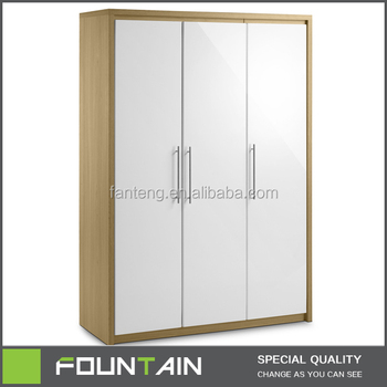 Zhejiang Factory Direct Bedroom Furniture 3 Doors Closet Modern White Wood Wardrobe
