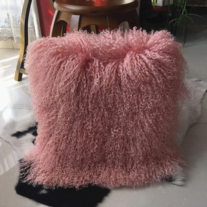 2017 New Good Quality Dyed Mongolian lamb fur pillows