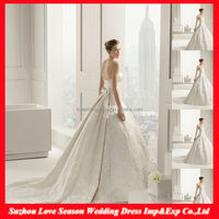 WD5033 New Fashion Factory Price High Quality sleeveless very long tail bow seamed details wedding dress with detachable train