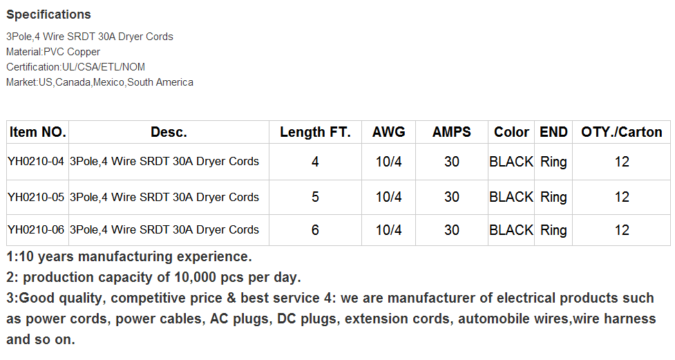 J100437 Etl Zertifiziert Powerlink 4-draht/prong-10/4 Gauge-30 Amp 6 ...