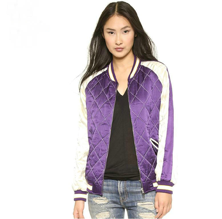 Fashion street style patchwork quilted jacket Vintage stripe rib hem sport coats women slim jackets