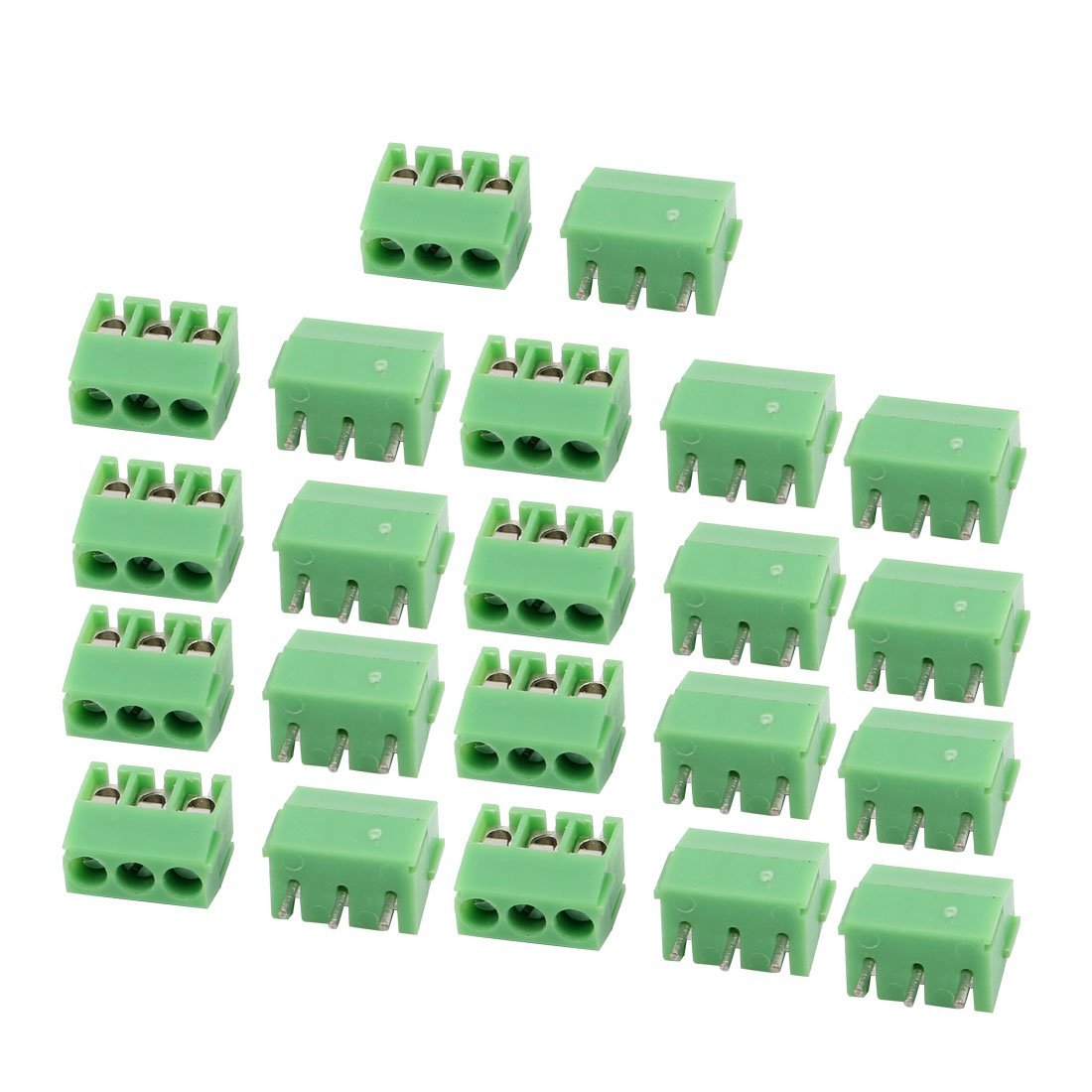 uxcell 22Pcs AC 300V 10A 3.5mm Pitch 3P Terminal Block PCB Mount Wire Connection