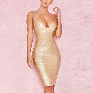 Fabulous Gold Bodycon Slip Bandage Dresses Plunge Neck Zipper Back Party Dress