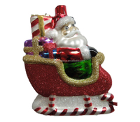Blown Glass Santa Sleigh Ornament for Christmas