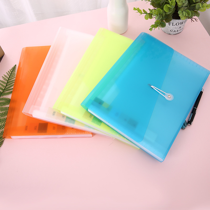 Hot sale a4 pvc rope expanding file with customized printing