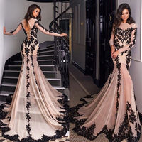 2017 Gorgeous O-neck Top Lace Floor Length Stretch Satin Mermaid Long Sleeve Prom Dress MP2556