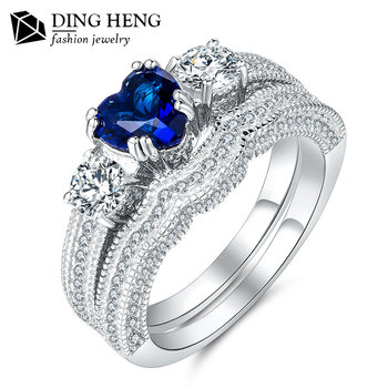 Hot Por 925 Sterling Silver Jewelry Dubai Luxury Shiny Blue Heart Stone Pure Engagement New