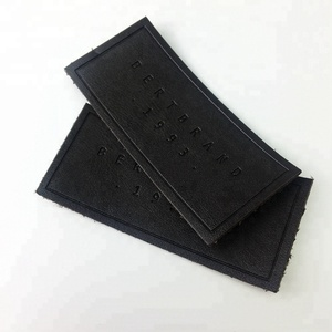 Factory Price Custom Debossed Logo Sew on Real Leather Labels and Patches for Jeans