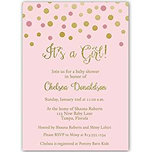 Pink and Gold Confetti Dots,It's a Girl, Baby Shower Invitation, Pink, Gold, Sparkle, 10 Custom Printed Invites with White Envelopes,