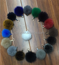 luxury fashion beautiful real fox fur pompoms keychain hot sell fox fur ball