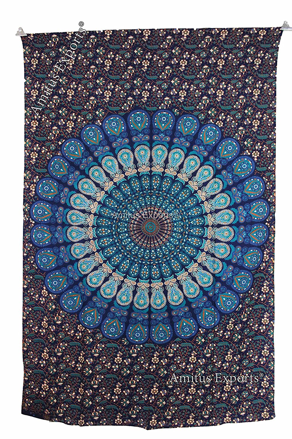 """Amitus Exports(TM) 1 X Peacock Flower Indian Tapestry 80""""X53"""" Approx. Inches Blue Multi Color Twin Size Cotton Fabric Multi-Purpose Handmade Tapestry Hippy Indian Mandala Throws Bohemian Tapestries"""