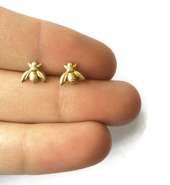 30pair S021 Gold Silver Honey Bee Earrings Tiny Honeybee Stud Woodland Insect Fly Bird Ble In Price On