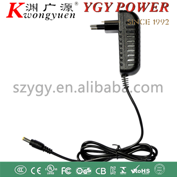 12V1A 1.5A wallmount AC/DC power adapter with UL/FCC/CE/GS/RCM/C-Tick/CB safety approval