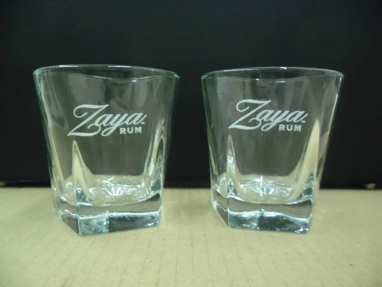 eab9d156780a Get Quotations · Set of 4 Zaya Gran Reserva Rum Aged 12 Yrs Libbey Pentagon  Shape Heavy Base Lowball