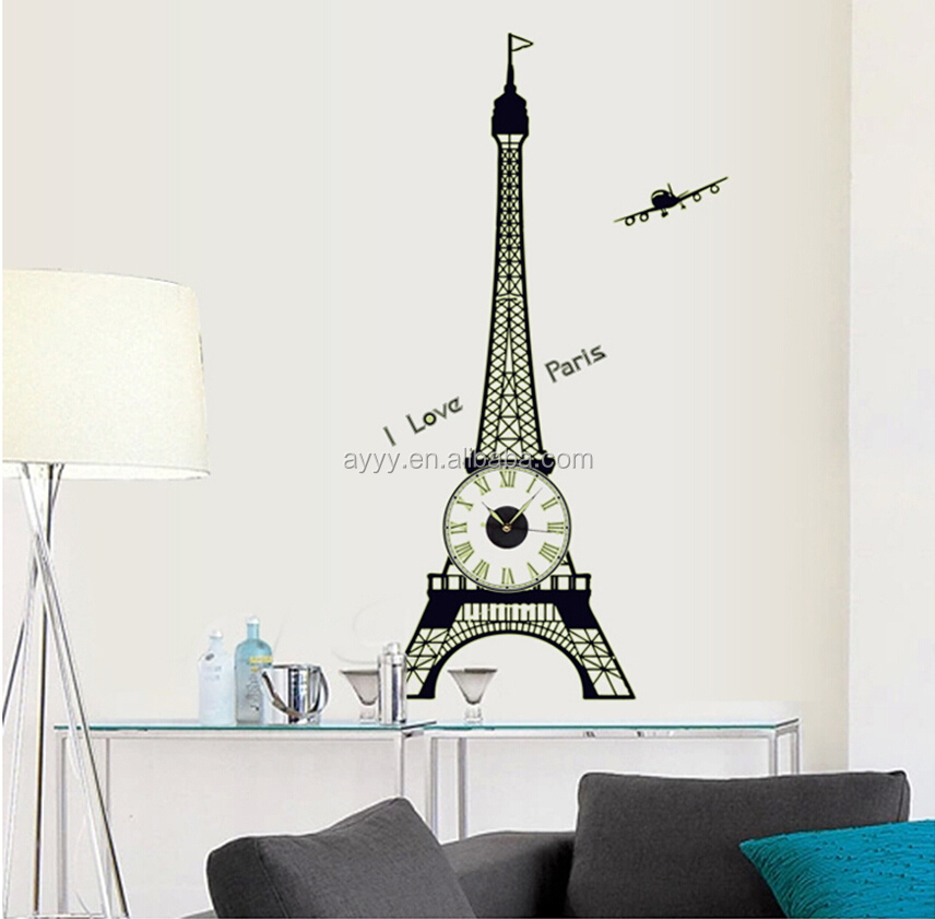 SA 1 102Y Eiffel Tower Glow In The Dark Wall Clock Sticker DIY Removable Part 97