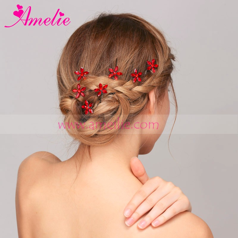 Cocktail Dress Hair Style Red Rhinestone Flower Hair Bobby Pins For