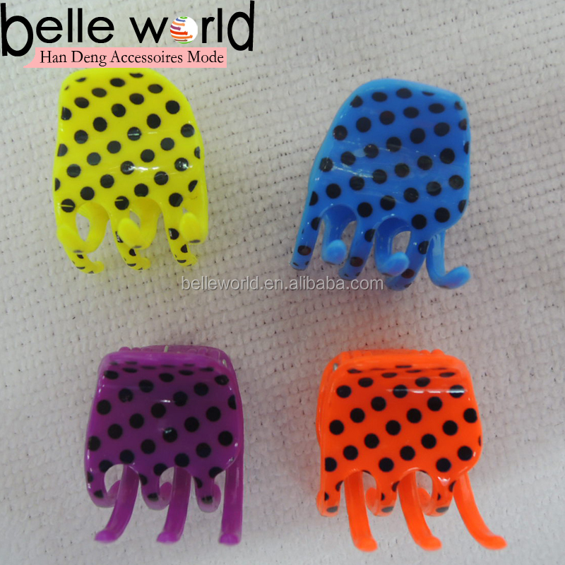 Wholesale Dot Printed Mini Small Plastic Hair Clips Claws Clamps