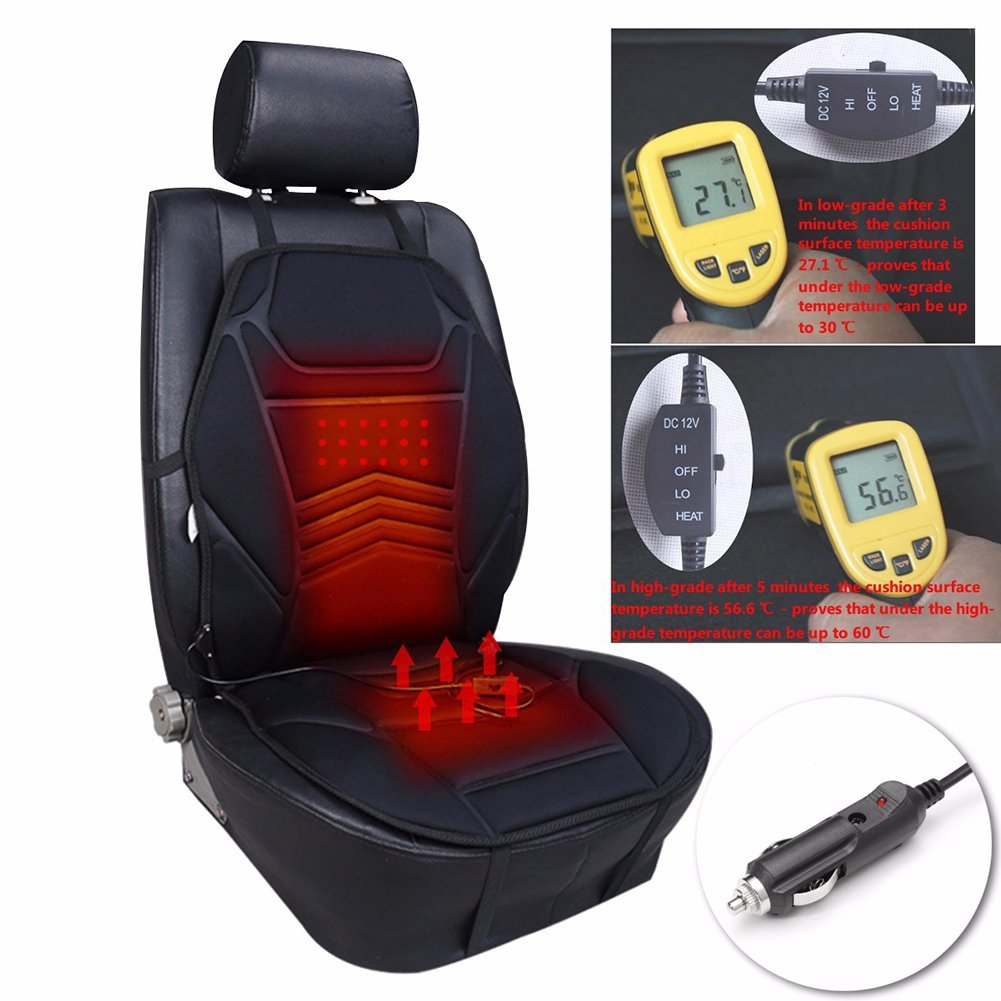Get Quotations 12V Heated Car Seat Cushion Premium Quality Adjustable Temperature Heating Pad Pain Reliever Regulated Automobile