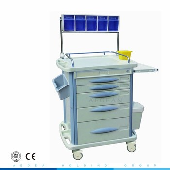 AG-AT007B3 movable medical price for hospital emergency crash trolley with 5 drawers