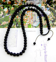 Newest high quality matte black onyx beads necklace for men
